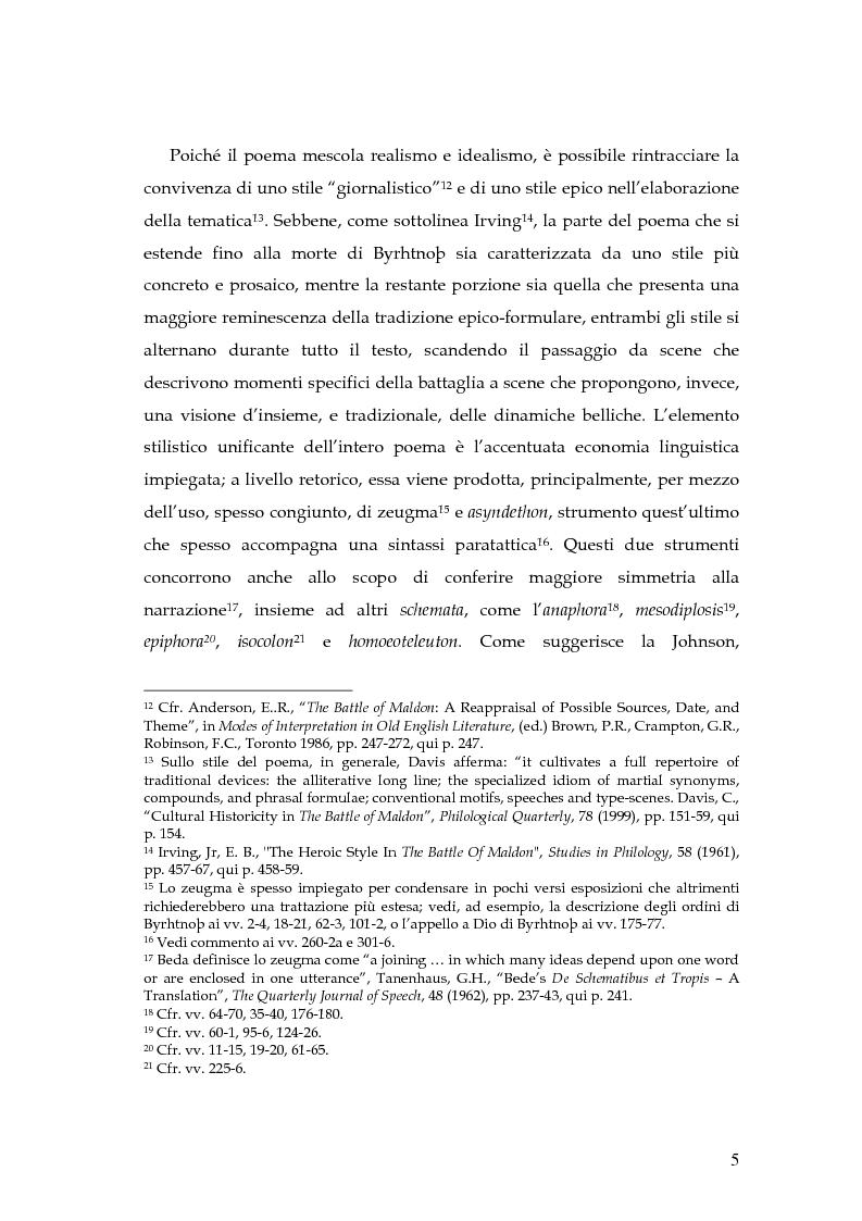 Anteprima della tesi: The Battle of Maldon: un'indagine retorica, Pagina 5