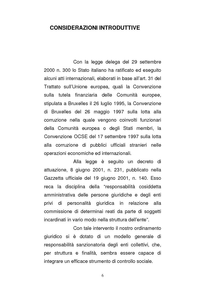 Anteprima della tesi: Le strutture organizzative di cui alla L. 231/2001: un'analisi comparativa, Pagina 1