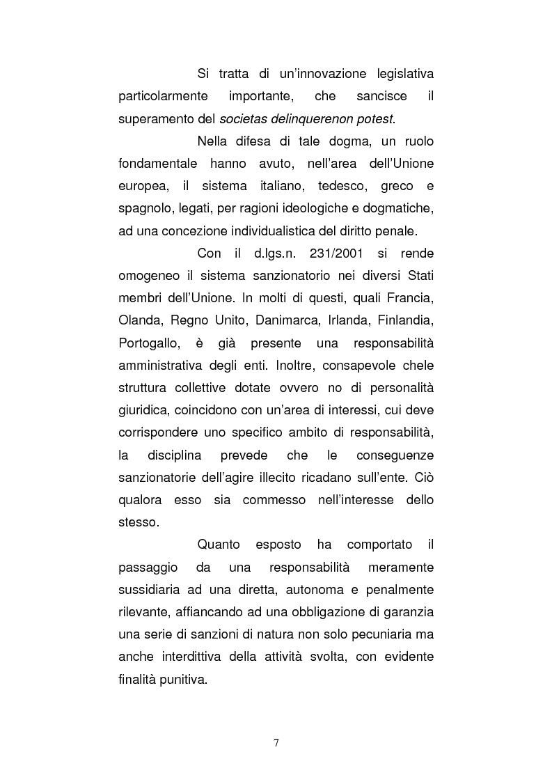 Anteprima della tesi: Le strutture organizzative di cui alla L. 231/2001: un'analisi comparativa, Pagina 2