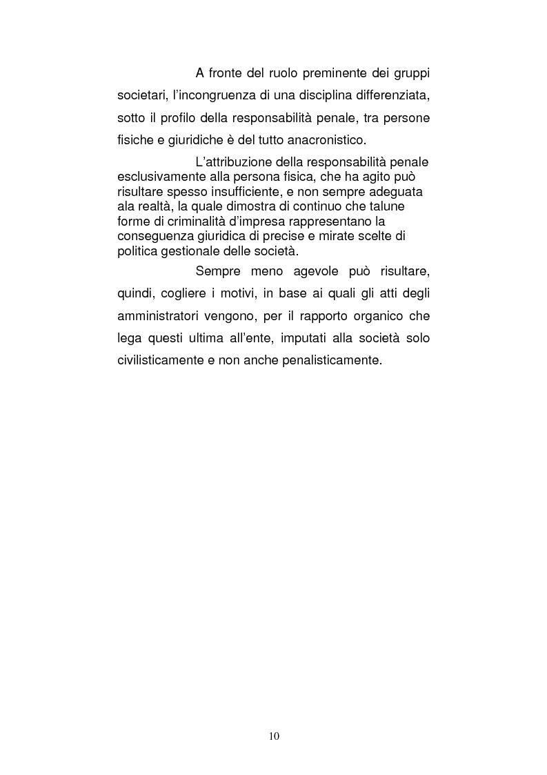 Anteprima della tesi: Le strutture organizzative di cui alla L. 231/2001: un'analisi comparativa, Pagina 5