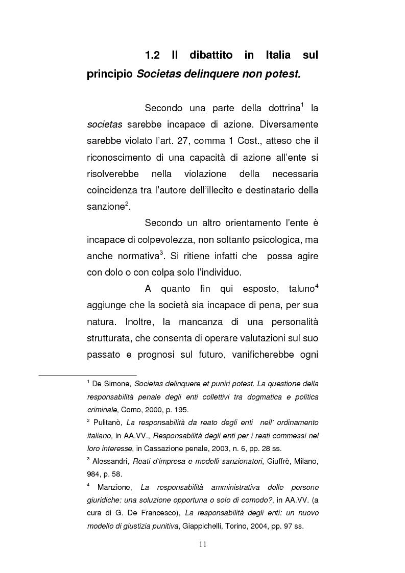 Anteprima della tesi: Le strutture organizzative di cui alla L. 231/2001: un'analisi comparativa, Pagina 6
