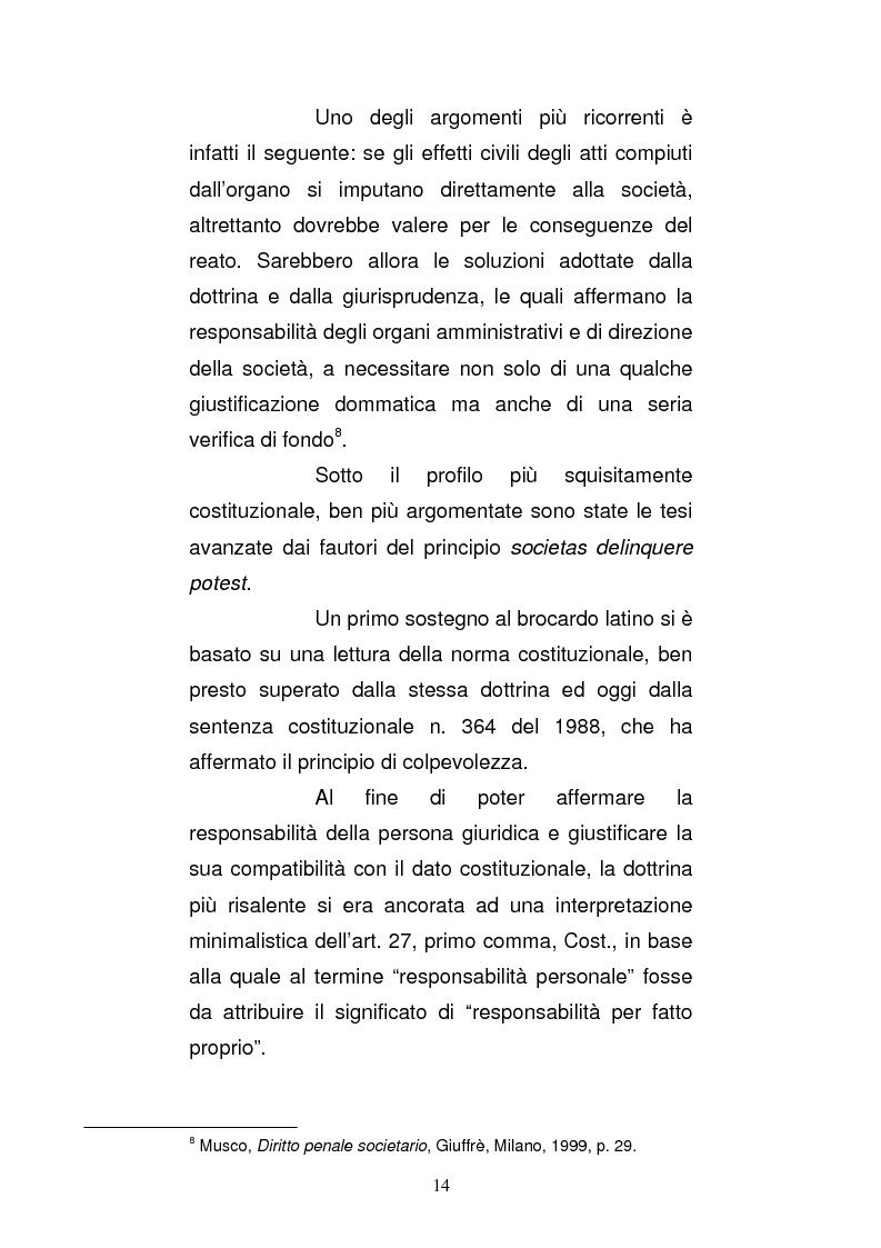 Anteprima della tesi: Le strutture organizzative di cui alla L. 231/2001: un'analisi comparativa, Pagina 9