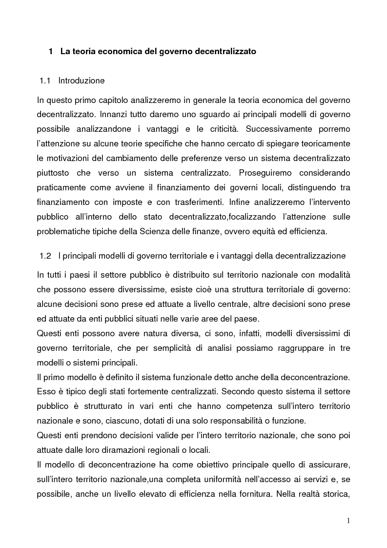 Anteprima della tesi: Il federalismo fiscale: l'Italia e l'Europa, Pagina 1