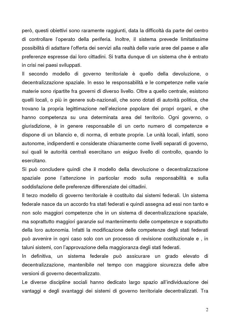 Anteprima della tesi: Il federalismo fiscale: l'Italia e l'Europa, Pagina 2