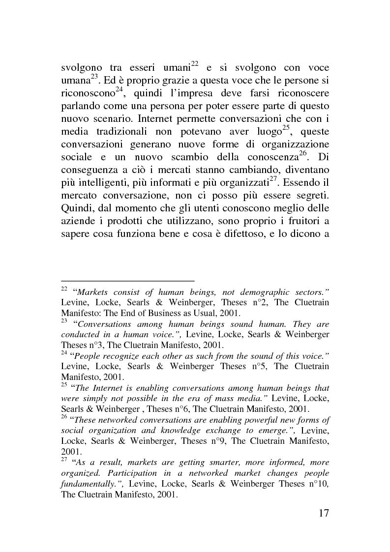 Anteprima della tesi: Il corporate blog - L'utilizzo del blog nella relazione con il cliente, Pagina 12