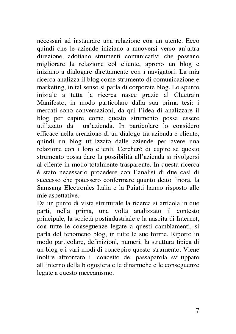 Anteprima della tesi: Il corporate blog - L'utilizzo del blog nella relazione con il cliente, Pagina 2