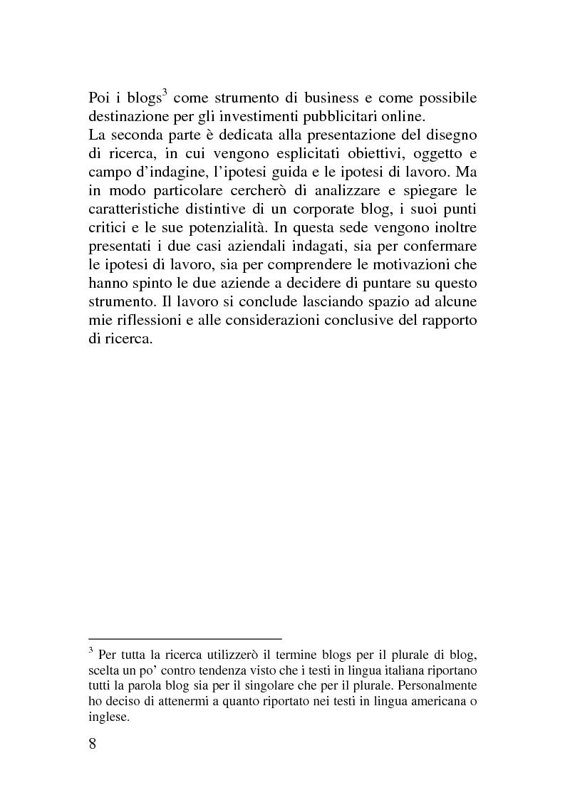 Anteprima della tesi: Il corporate blog - L'utilizzo del blog nella relazione con il cliente, Pagina 3