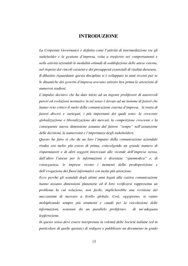 Anteprima della tesi: La comunicazione sulla Corporate Governance: analisi delle relazioni dei principali istituti di credito, Pagina 1