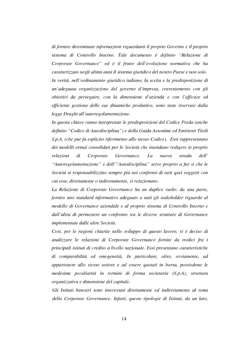 Anteprima della tesi: La comunicazione sulla Corporate Governance: analisi delle relazioni dei principali istituti di credito, Pagina 2