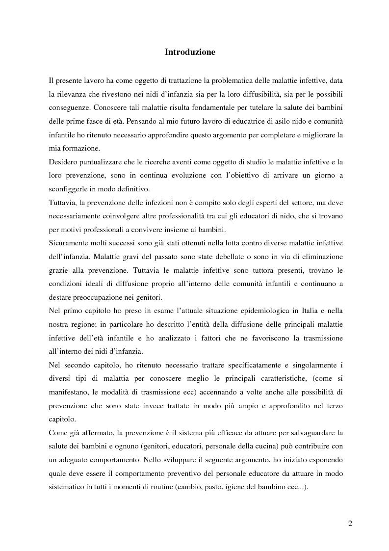 Anteprima della tesi: Le malattie infettive nei nidi d'infanzia: conoscere per prevenire, Pagina 1