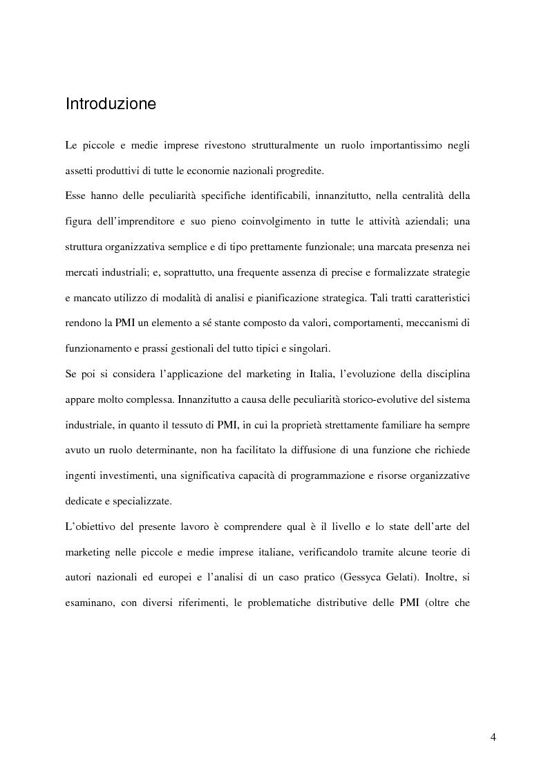 Anteprima della tesi: Aspetti distributivi e pianificazione di marketing nelle Pmi del comparto alimentare: il caso Gessyca Gelati, Pagina 1