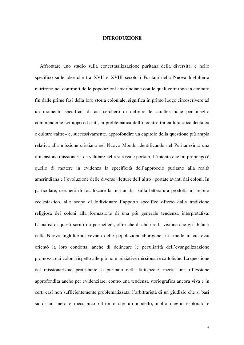 Anteprima della tesi: L'interpretazione dell'«altro» nei Puritani del Nuovo Mondo. Coloni e missionari di fronte al «selvaggio», 1620-1758., Pagina 1