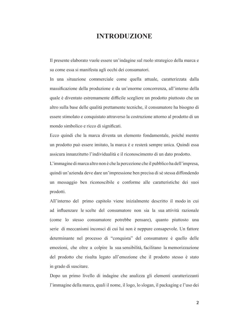 Anteprima della tesi: La marca e i valori di consumo, Pagina 1