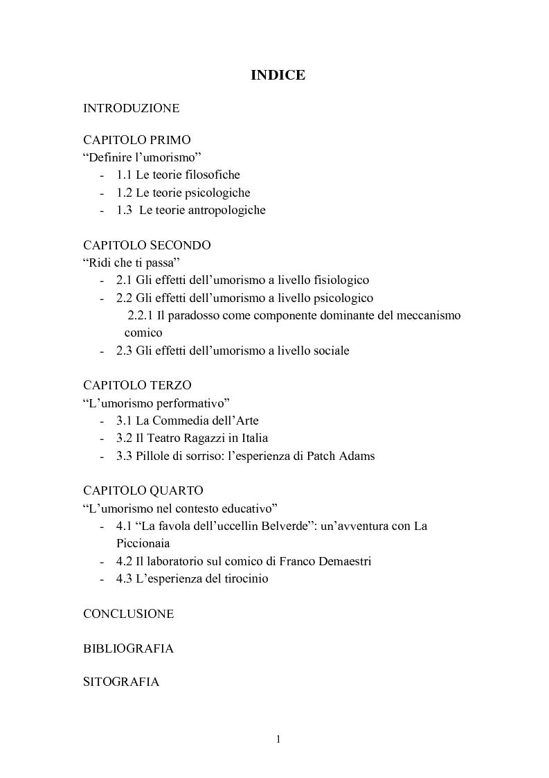 Indice della tesi: ''Risus abundant in ore... sapientium''. L'efficacia dell'umorismo dalla performance al contesto educativo., Pagina 1