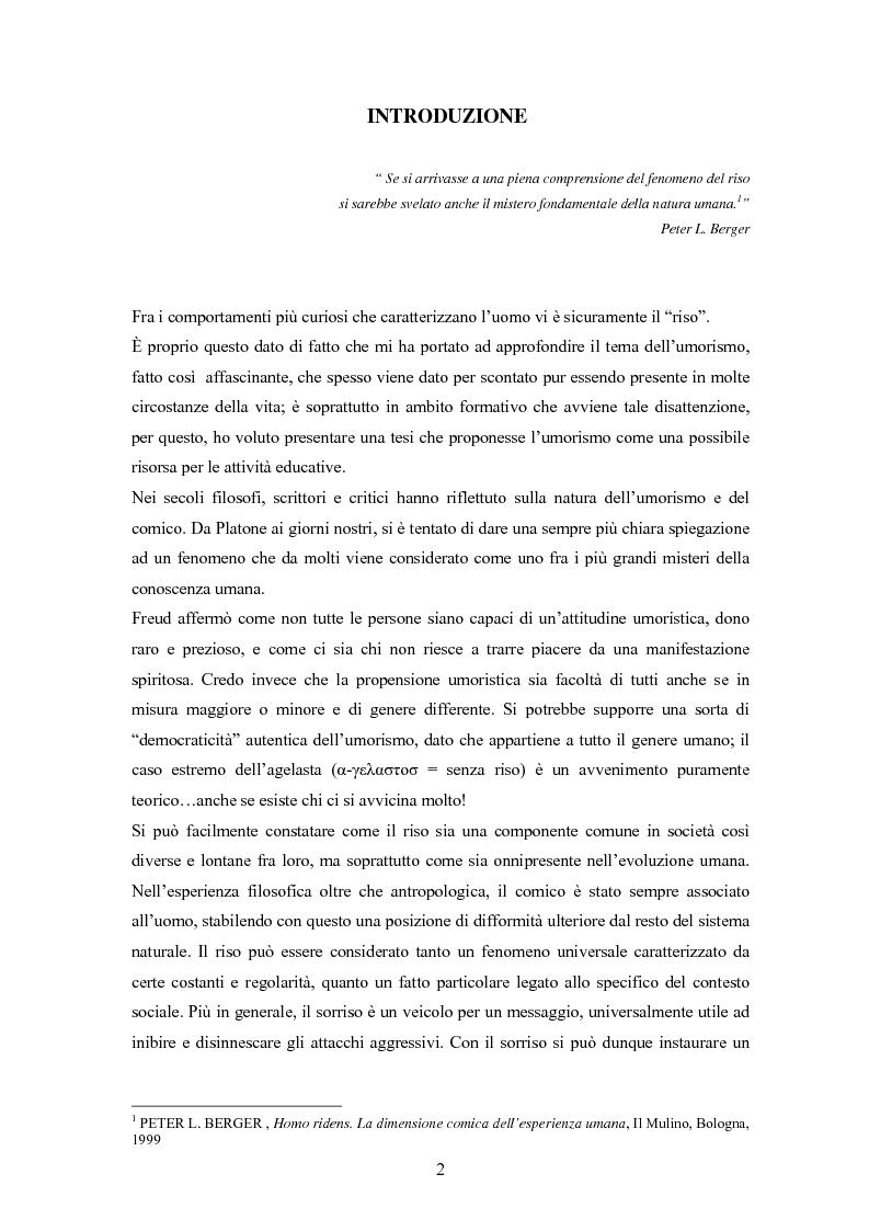 Anteprima della tesi: ''Risus abundant in ore... sapientium''. L'efficacia dell'umorismo dalla performance al contesto educativo., Pagina 1