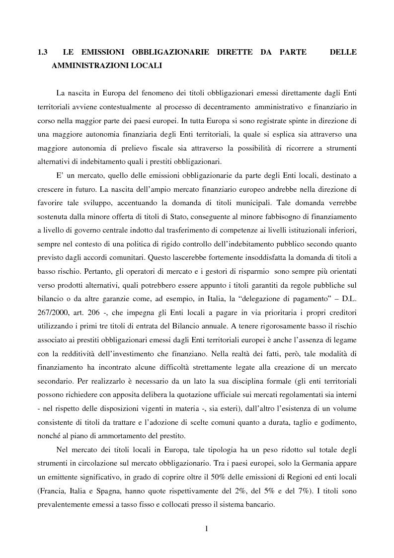 Anteprima della tesi: I Prestiti Obbligazionari degli Enti Locali, Pagina 1