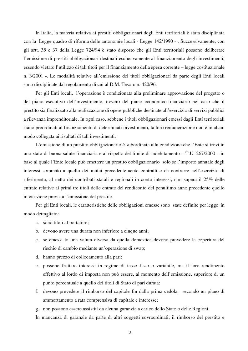 Anteprima della tesi: I Prestiti Obbligazionari degli Enti Locali, Pagina 2