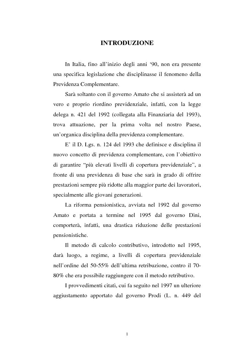 Anteprima della tesi: Le fonti di finanziamento della previdenza complementare alla luce del D.Lgs. n. 252/2005, Pagina 1
