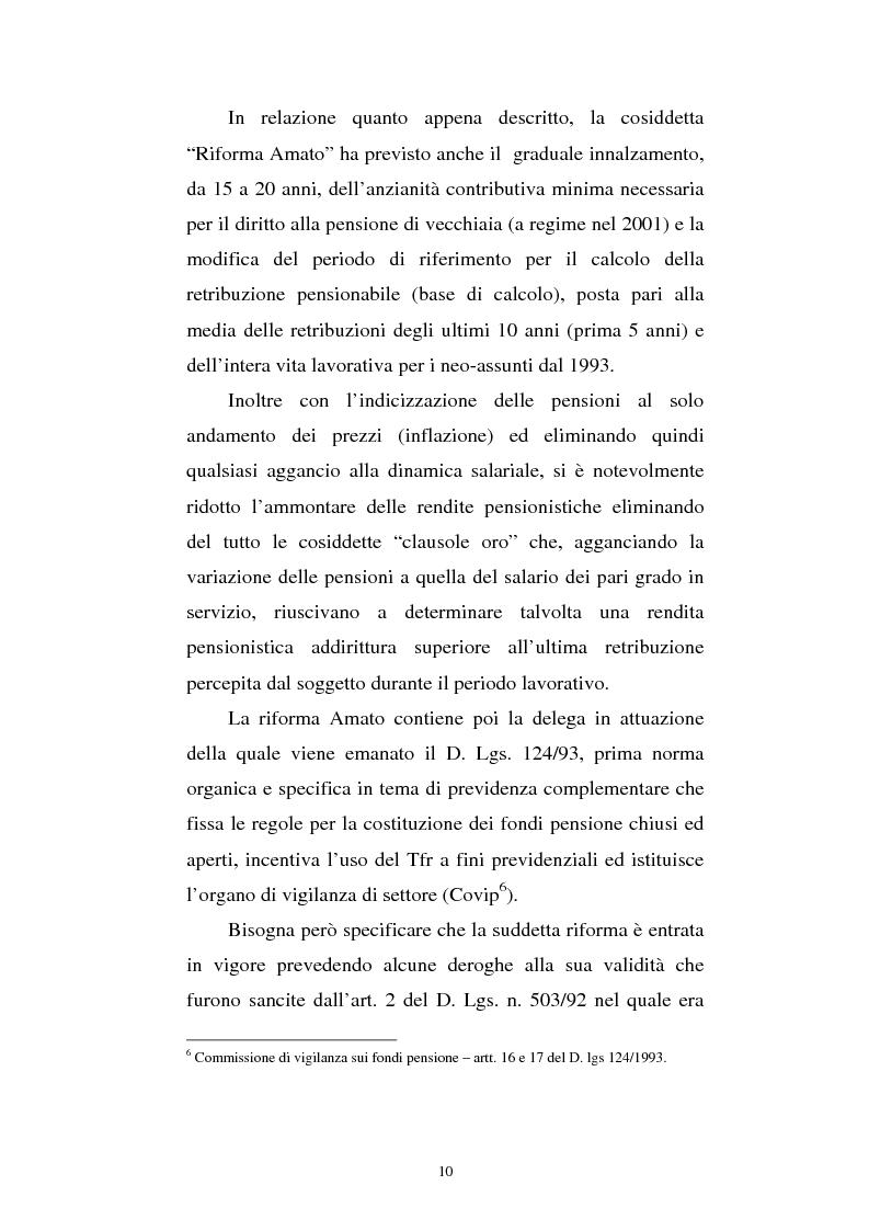 Anteprima della tesi: Le fonti di finanziamento della previdenza complementare alla luce del D.Lgs. n. 252/2005, Pagina 10