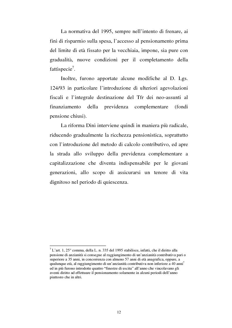 Anteprima della tesi: Le fonti di finanziamento della previdenza complementare alla luce del D.Lgs. n. 252/2005, Pagina 12