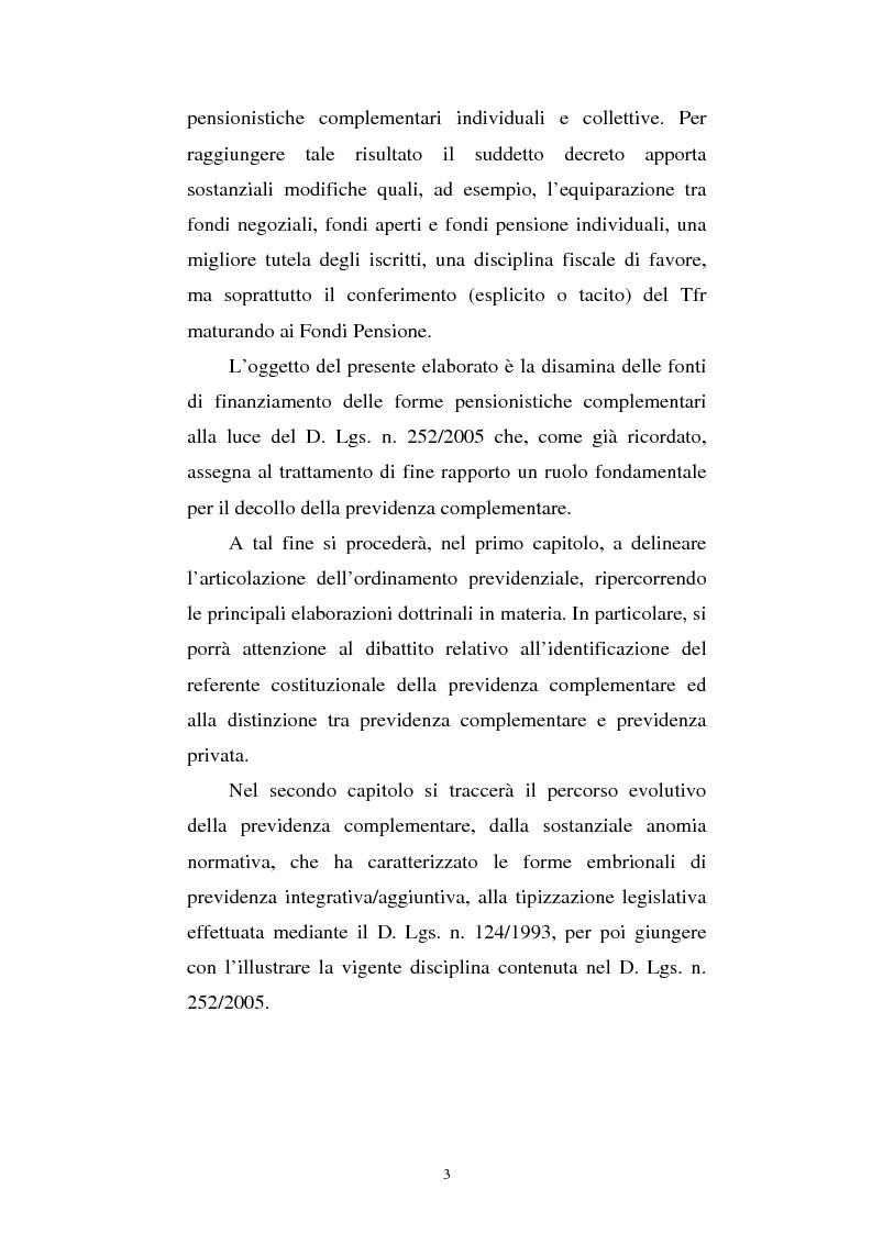 Anteprima della tesi: Le fonti di finanziamento della previdenza complementare alla luce del D.Lgs. n. 252/2005, Pagina 3
