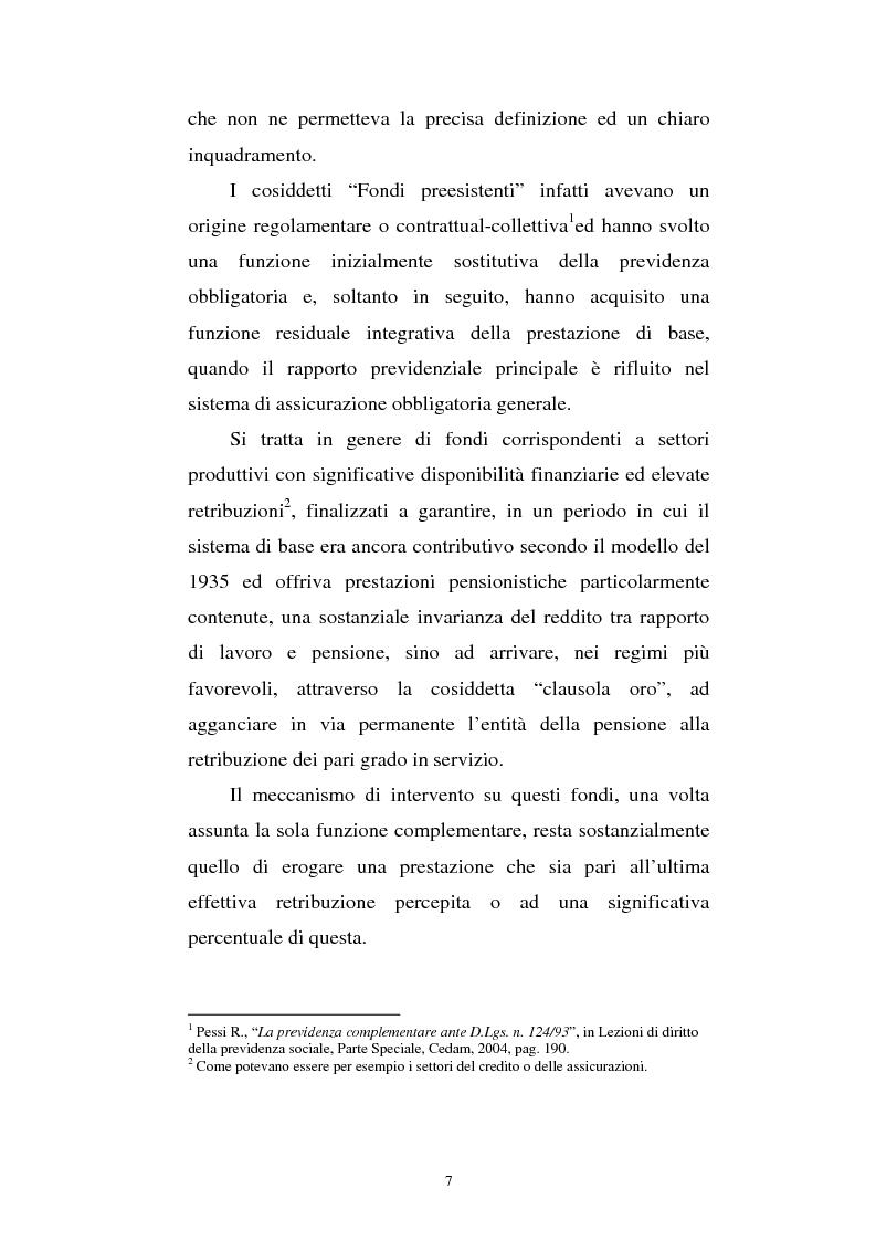 Anteprima della tesi: Le fonti di finanziamento della previdenza complementare alla luce del D.Lgs. n. 252/2005, Pagina 7
