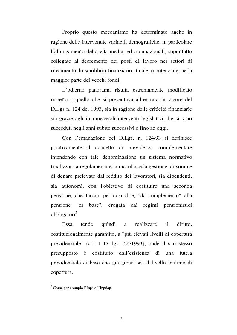 Anteprima della tesi: Le fonti di finanziamento della previdenza complementare alla luce del D.Lgs. n. 252/2005, Pagina 8