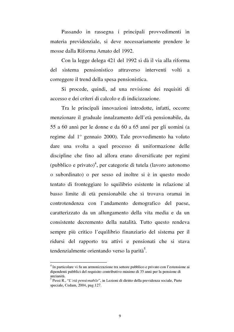 Anteprima della tesi: Le fonti di finanziamento della previdenza complementare alla luce del D.Lgs. n. 252/2005, Pagina 9