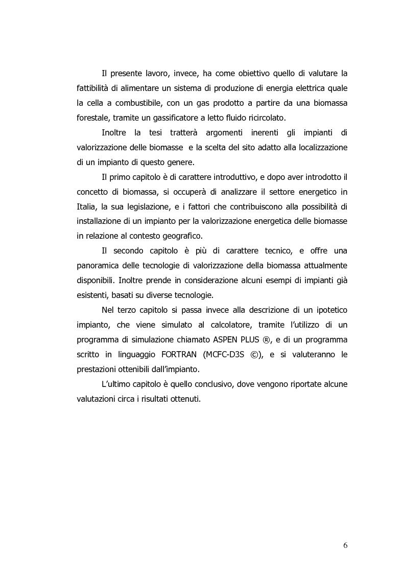 Anteprima della tesi: Valorizzazione energetica di biomassa in un impianto a celle a combustibile, Pagina 2