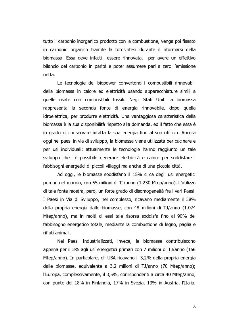 Anteprima della tesi: Valorizzazione energetica di biomassa in un impianto a celle a combustibile, Pagina 4