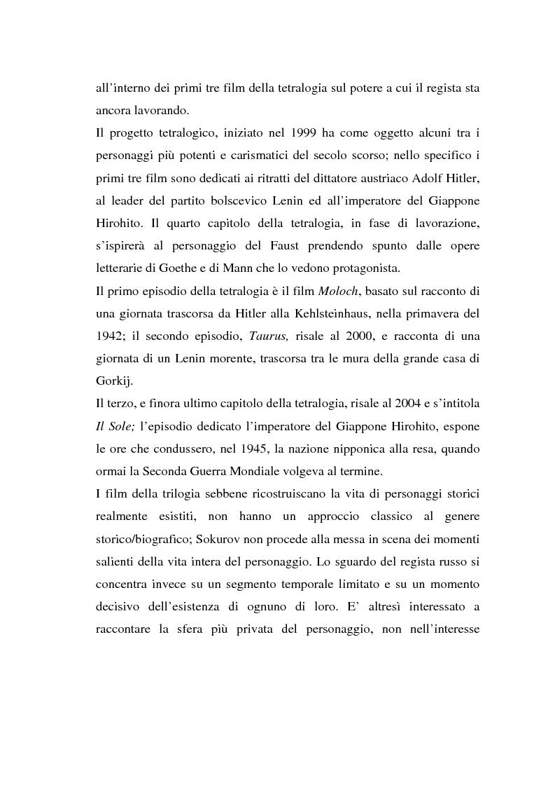 Anteprima della tesi: Moloch, Taurus, Il Sole. Trilogia sul potere di A. Sokurov tra declino storico e declino esistenziale, Pagina 3