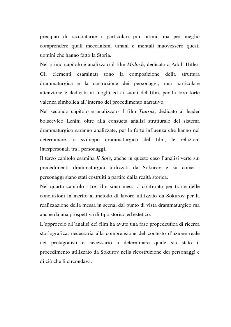 Anteprima della tesi: Moloch, Taurus, Il Sole. Trilogia sul potere di A. Sokurov tra declino storico e declino esistenziale, Pagina 4