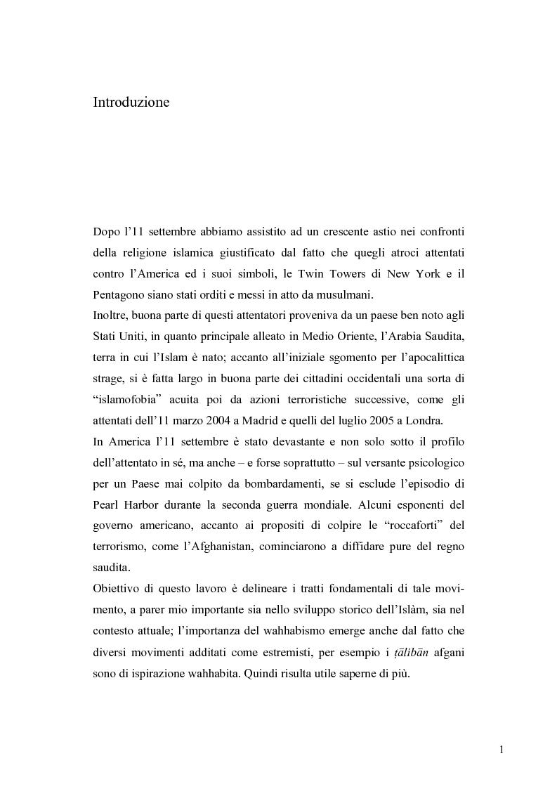Anteprima della tesi: Il movimento wahhabita, Pagina 1