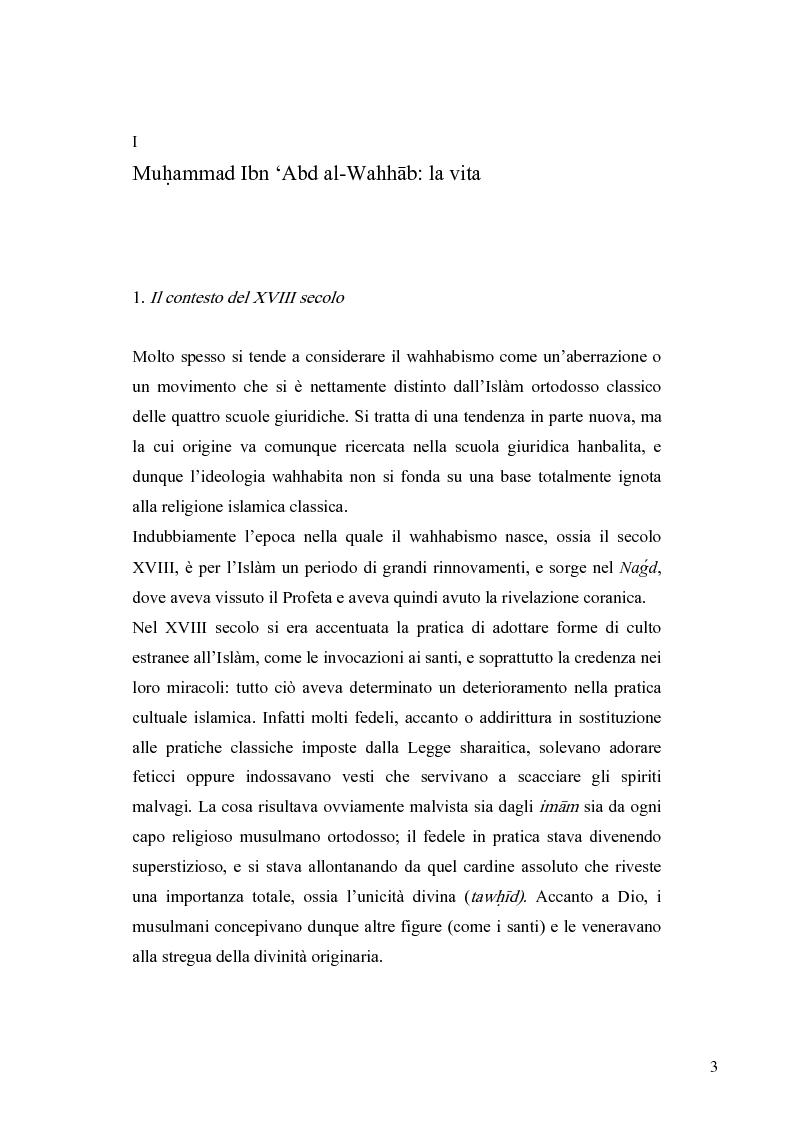 Anteprima della tesi: Il movimento wahhabita, Pagina 3