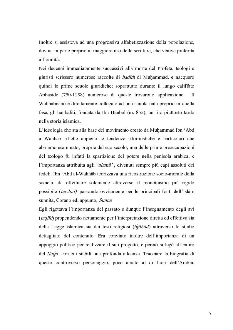 Anteprima della tesi: Il movimento wahhabita, Pagina 5