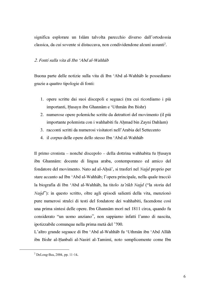 Anteprima della tesi: Il movimento wahhabita, Pagina 6