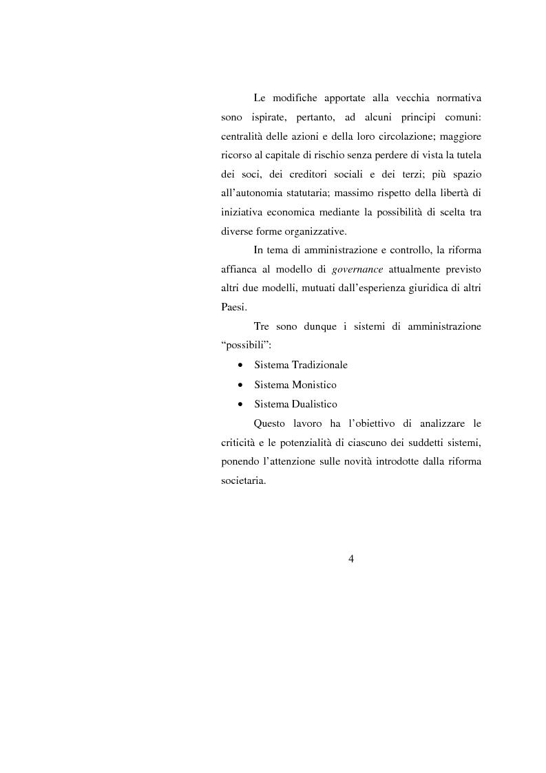 Anteprima della tesi: Potenzialità e criticità dei sistemi di corporate governance dopo la riforma societaria, Pagina 2