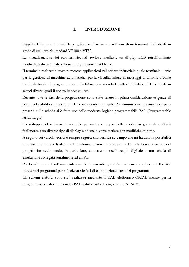 Anteprima della tesi: Progettazione hardware e software di un terminale industriale standard VT100 - VT52 con display LCD, Pagina 1