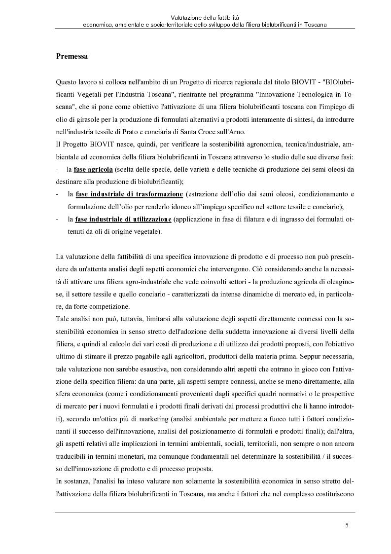 Anteprima della tesi: Valutazione della fattibilità economica, ambientale e socio-territoriale dello sviluppo della filiera biolubrificanti in Toscana, Pagina 1