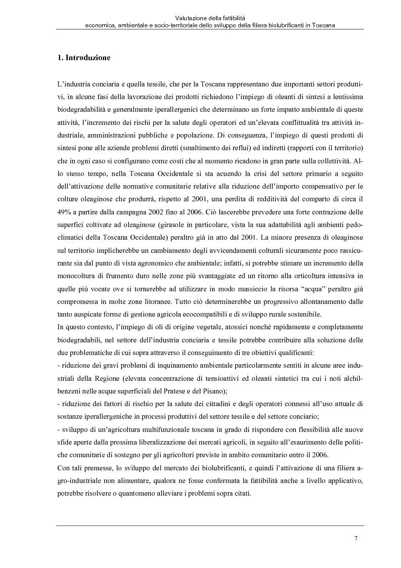 Anteprima della tesi: Valutazione della fattibilità economica, ambientale e socio-territoriale dello sviluppo della filiera biolubrificanti in Toscana, Pagina 3
