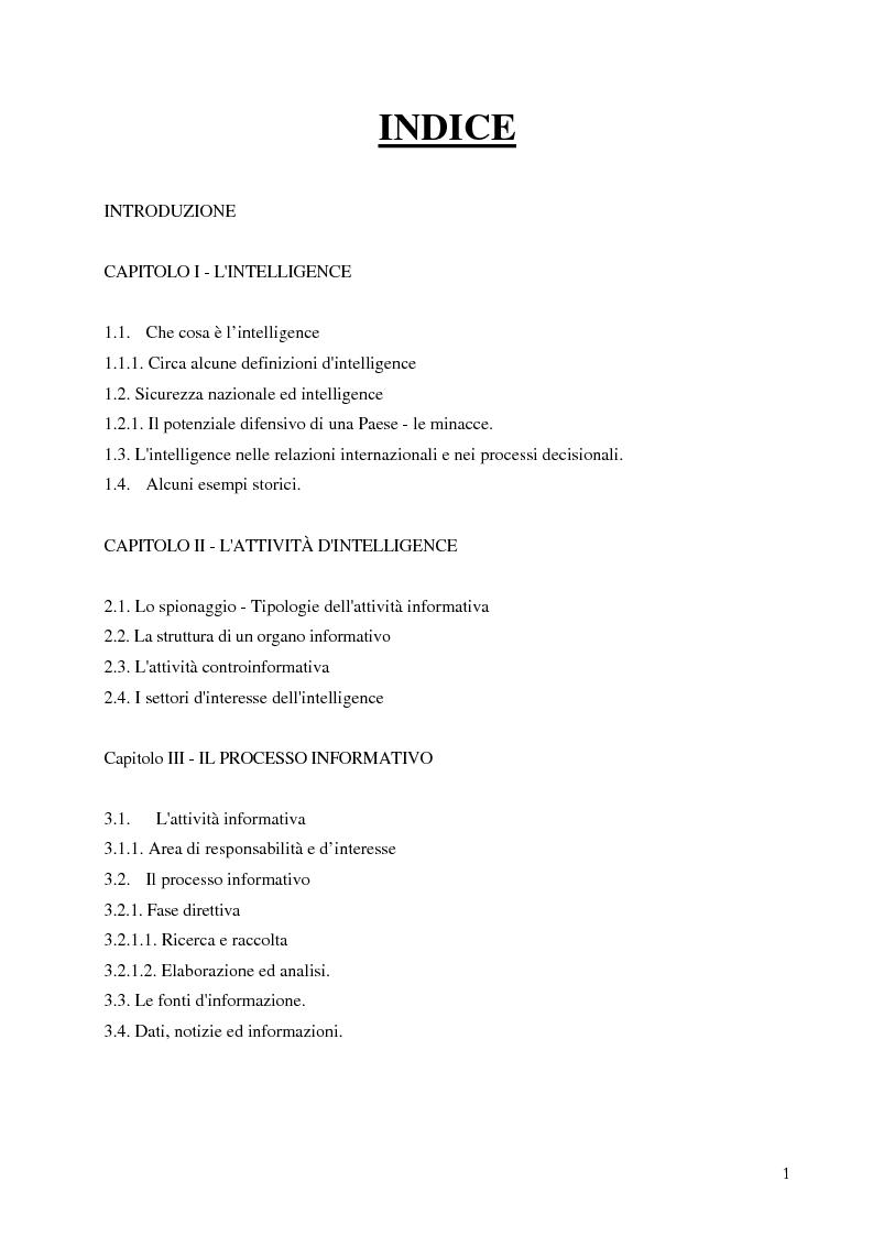 Indice della tesi: Intelligence in un mondo multipolare, Pagina 1