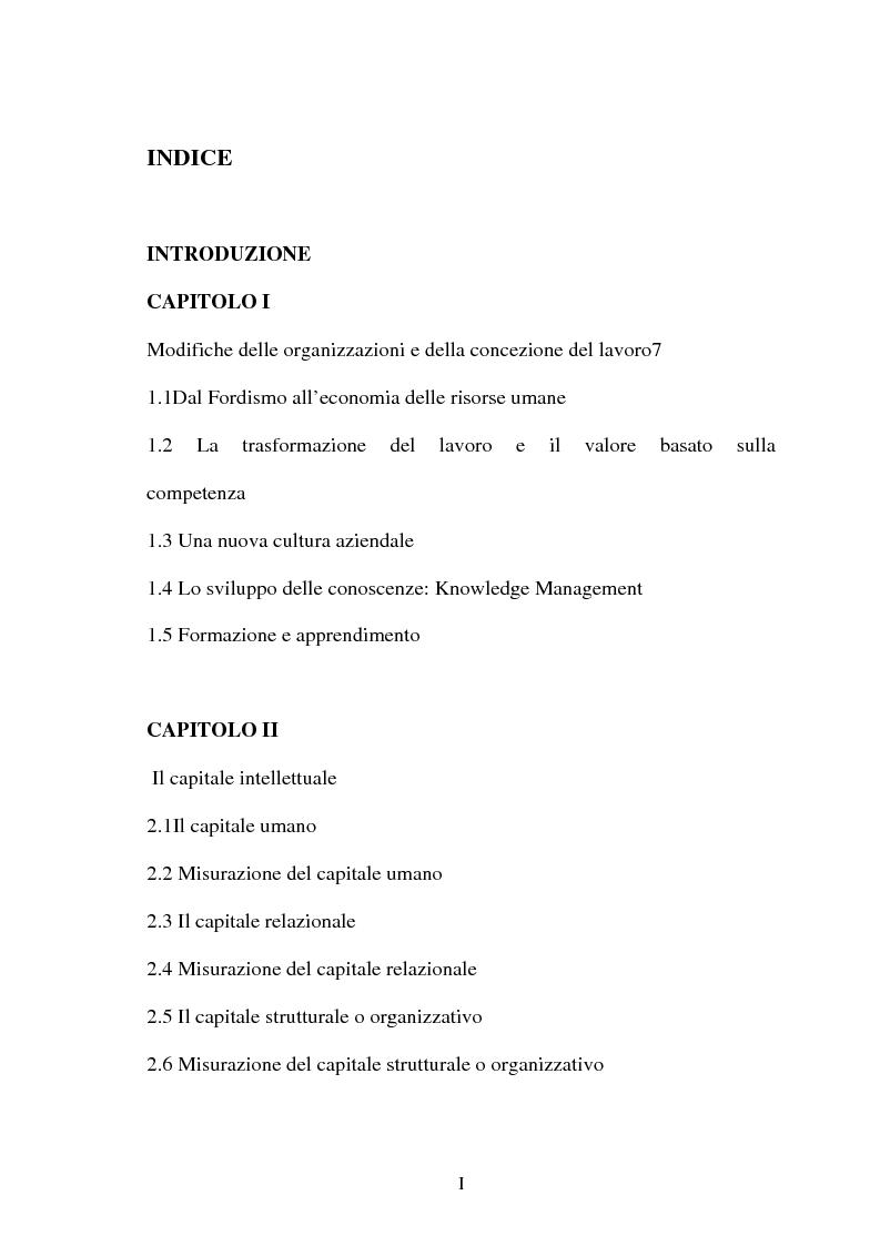 Indice della tesi: Una nuova frontiera delle organizzazioni: il capitale intellettuale, Pagina 1