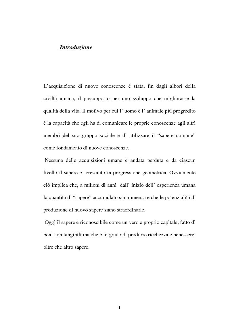 Anteprima della tesi: Una nuova frontiera delle organizzazioni: il capitale intellettuale, Pagina 1