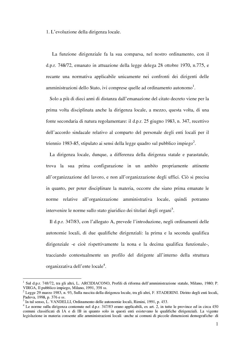 Anteprima della tesi: Evoluzioni della dirigenza locale con particolare riferimento al comandante della polizia locale, Pagina 1