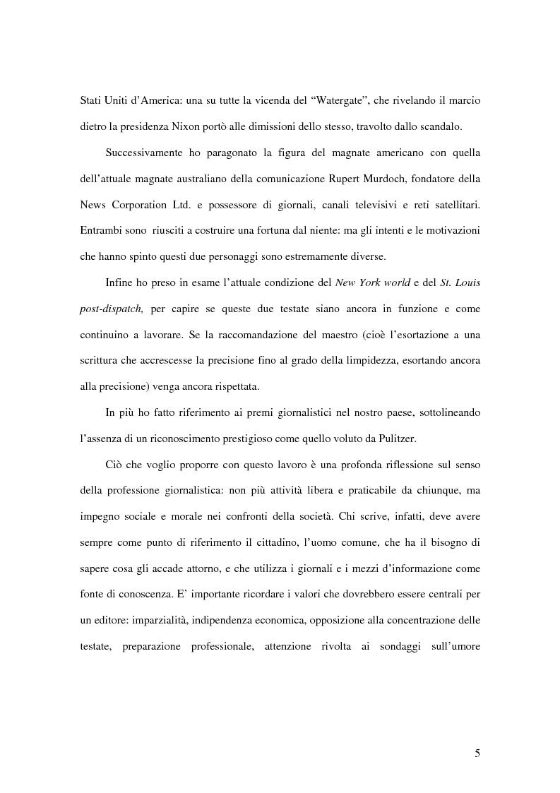 Anteprima della tesi: Joseph Pulitzer: l'amore per la stampa e per la verità: come il giornalismo da mestiere diventa una professione, Pagina 3