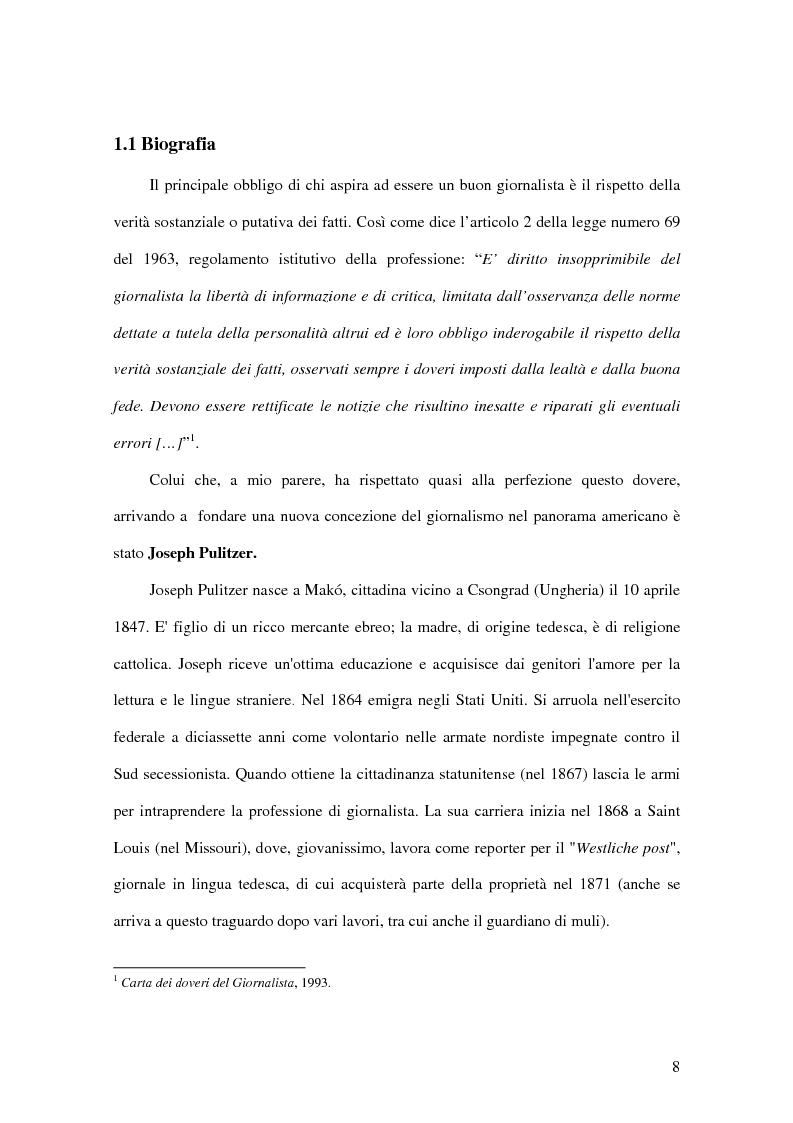Anteprima della tesi: Joseph Pulitzer: l'amore per la stampa e per la verità: come il giornalismo da mestiere diventa una professione, Pagina 6