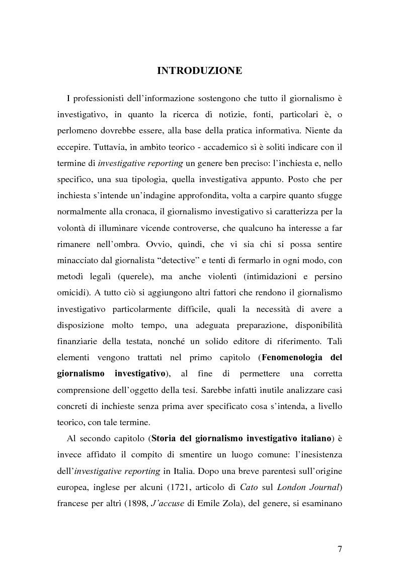 Anteprima della tesi: Il giornalismo investigativo italiano: il caso Alpi-Hrovatin, Pagina 1