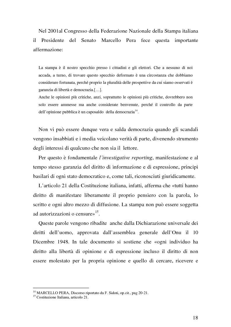 Anteprima della tesi: Il giornalismo investigativo italiano: il caso Alpi-Hrovatin, Pagina 12