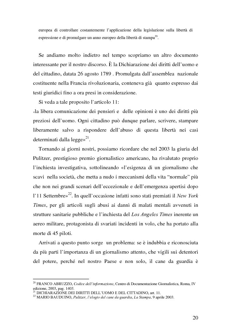 Anteprima della tesi: Il giornalismo investigativo italiano: il caso Alpi-Hrovatin, Pagina 14