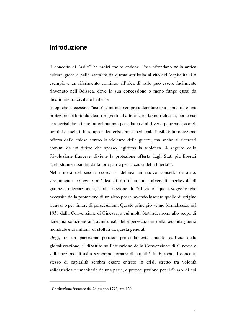 Anteprima della tesi: Rifugiati e richiedenti asilo in Italia: situazione normativa e fenomeno sociale, Pagina 1